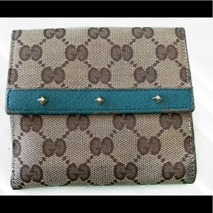 Beautiful Turquoise Brown Gucci Wallet